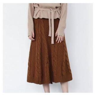 ケーブル編み ニットスカート 冬 秋 ブラウン ロング丈 ひざ丈