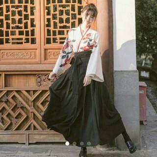Lサイズ 椿 袴 花柄 着物セット ブラック(着物)
