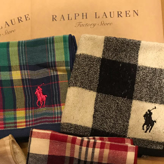 Ralph Lauren - 新品●袋付 ラルフローレンのタオルハンカチ 5枚