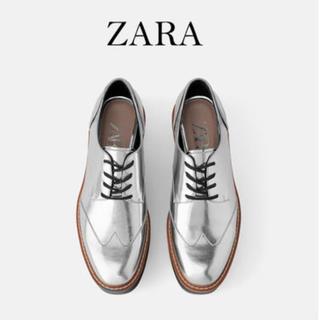 ザラ(ZARA)のZARA 厚底 ドレスシューズ ブーツ シルバー(ローファー/革靴)