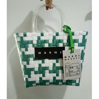 マルニ(Marni)のピクニック かごバッグ 緑 MARNI マルニ 正規品(かごバッグ/ストローバッグ)