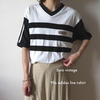 adidas - 90s アディダス ライン tシャツ 白 黒 古着 レディース vintage