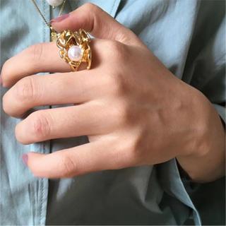Ameri VINTAGE - ✔️new! ごつめパールリング ゴールド