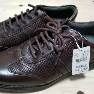 アオキ(AOKI)のビジネス レジャー カジュアル靴 革 CafeSoho Aoki 新品 24.5(ドレス/ビジネス)
