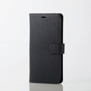 エレコム(ELECOM)のiPhoneXR 手帳型ケース ブラック サフィアーノ調 ソフトレザー(iPhoneケース)