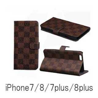 新品!iPhone7/8/7plus/8plus 手帳型ケース チェック柄(iPhoneケース)