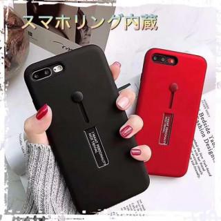 iPhone ケース ♡落下防止ベルト スタンドクリップ内蔵♡レッド ブラック★(iPhoneケース)