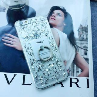 銀箔  シルバー iPhone5 iPhone5s SE リング ソフト ケース(iPhoneケース)