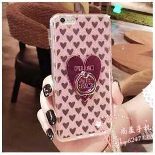 ハートいっぱい バンカーリング付き iPhone7ケース ピンク(iPhoneケース)