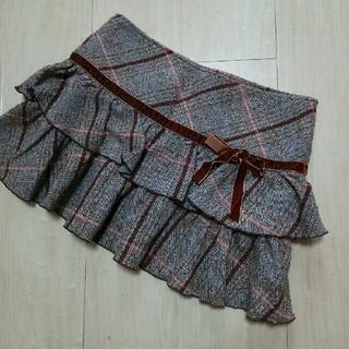 LIZ LISA - LIZ LISA 茶色 リボン チェック フリル ティアード スカート リズリサ