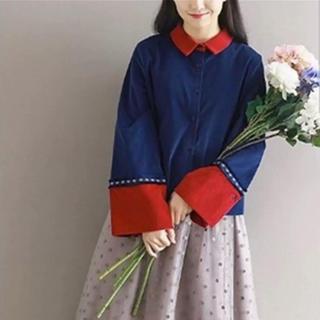 ♪シャツ トップス 民族系 ネイビー レッド(シャツ/ブラウス(長袖/七分))