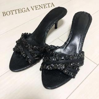 ボッテガヴェネタ(Bottega Veneta)の美品!ボッテガヴェネタ 26.0 本革 イタリア製 ブラック サンダル(サンダル)