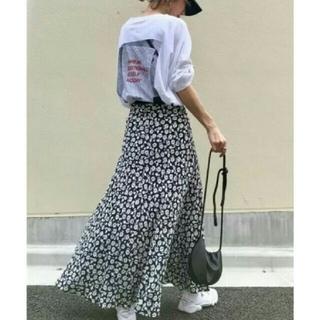 ZARA - フラワープリント 花柄 スカート  モノクロカラー