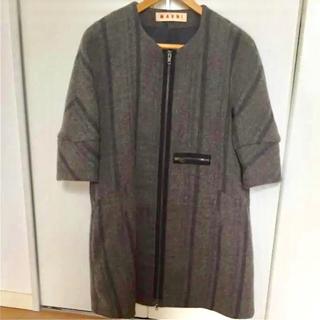 マルニ(Marni)のMarni マルニ  七分袖  ブラウングレー コート(ノーカラージャケット)