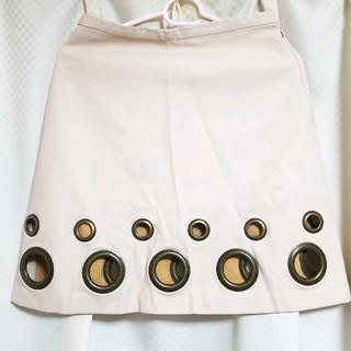 リリーブラウン(Lily Brown)の【底値/訳あり】リリーブラウン アイボリー フェイクレザースカート Sサイズ(ひざ丈スカート)
