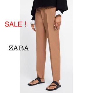 ザラ(ZARA)の新品未使用 ZARA ストレートパンツ チノパン ブラウン 34 36 M(クロップドパンツ)