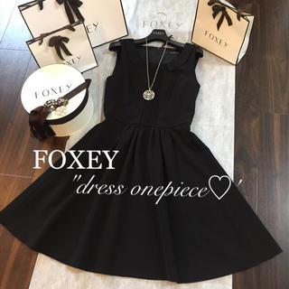 FOXEY - ♡美品♡フォクシー襟付きピンタックワンピース♡ブラックブラック♡