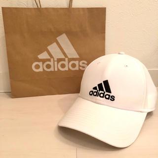 adidas - 【美品】adidas ロゴキャップ ホワイト ショップ袋付き