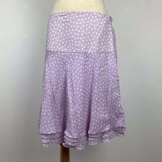 イルファーロバイルチアーノバルベラ(ILFARO by LUCIANO BARBERA)のイタリー製「究極の完成された服」100%絹ラヴェンダー色水玉スカート75%オフ(ひざ丈スカート)