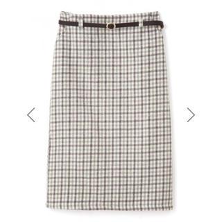 グレイル(GRL)のGRL ベルト付きチェックタイトスカート グレー 新作 韓国ファッション(ロングスカート)