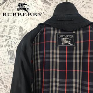 バーバリー(BURBERRY)のバーバリーズ Burberrys ステンカラーコート ノバチェック ネイビー(ロングコート)