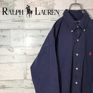 Ralph Lauren - ラルフローレン☆ネイビー 刺繍ロゴ ビッグシャツ BDチノシャツ 90s