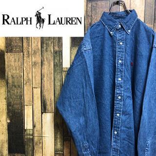 Ralph Lauren - 【激レア】ラルフローレン☆ワンポイント刺繍ロゴ入りデニムシャツ 90s