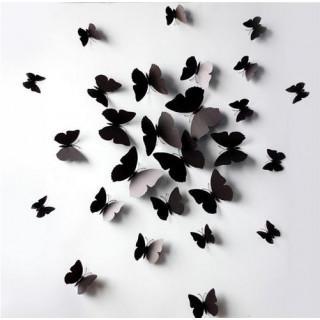 ウォールステッカー おしゃれ壁紙 蝶々 ブラック