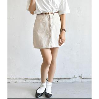 ローリーズファーム(LOWRYS FARM)のpair pair ツイル&デニム台形スカート アイボリー(ミニスカート)
