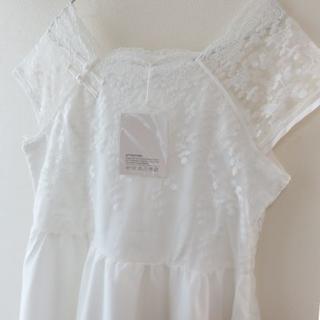 新品 オーガンジー ウェディングドレス 刺繍レース XL(ウェディングドレス)
