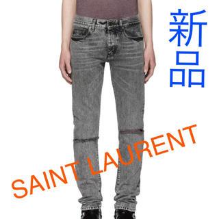 サンローラン(Saint Laurent)の【新品】サンローラン ロゴ刺繍 ダメージ加工 ジーンズ ブラックデニム 32(デニム/ジーンズ)