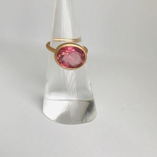 ピンクトルマリンk18 インドジュエリー リング 9号(リング(指輪))