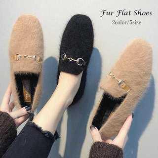 【新品】ファーパンプス レディース シューズ 韓国 靴 走れるパンプス フラット