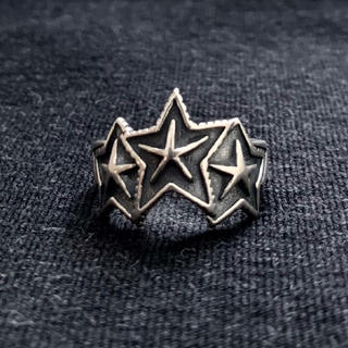 シルバー925 3連スターリング シルバーリング 星