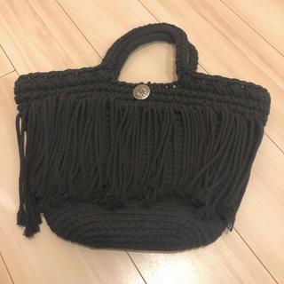 ロンハーマン(Ron Herman)のコンチョ付マクラメフリンジハンドバッグ フリンジバッグ マクラメ編み 黒(ハンドバッグ)