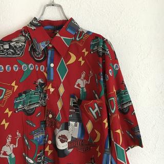 Hurley - レア ヴィンテージ ハーレー 半袖 シャツ 柄シャツ 総柄 個性派 古着 80s