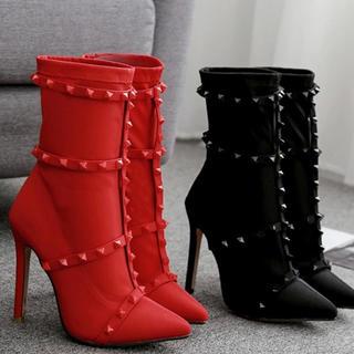 レッドヴァレンティノ(RED VALENTINO)のスタッズ ショートブーツ ソックスブーツ(ブーツ)