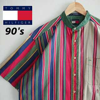 TOMMY HILFIGER - 774 トミーヒルフィガー 旧タグ 90年代製 ビッグサイズ ストライプシャツ