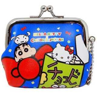 RM5929 キティ×クレヨンしんちゃん コラボ がま口 ブルー