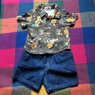 パーソンズキッズ(PERSON'S KIDS)の半袖シャツ デニムショートパンツ 上下セット 90(Tシャツ/カットソー)