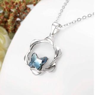 SWAROVSKI - ブルー ネックレス 蝶々 スワロフスキークリスタル 純銀 S925 シルバー