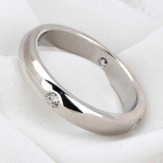 SWAROVSKI - 18K white goldコーティング指輪 レディース 4粒スワロフスキーCZ