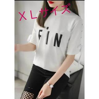 SALE【XL】ホワイト 半袖 編み上げ Tシャツ ロゴ リボン(Tシャツ(半袖/袖なし))