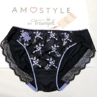 Triumph - トリンプAMO'S STYLE 可愛い花柄ステッチショーツ M 黒×パープル