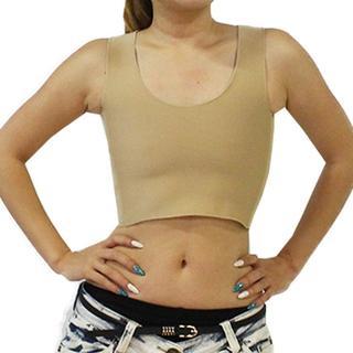 ○しっかり抑えられる○ 胸を小さく見せるブラ ハーフタンクトップ型 肌色XL(タンクトップ)