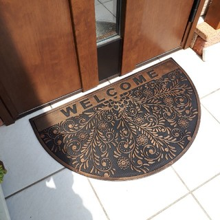 【ウェルカムチェック】アンティーク調 玄関マット(屋外)  新品、未使用