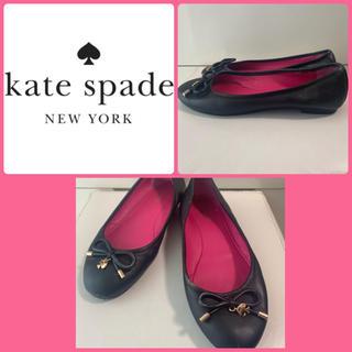 kate spade new york - ケイトスペード ブラックレザー リボン パンプス