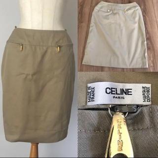 セリーヌ(celine)のCELINE セリーヌ スカート 40 ベージュ (ひざ丈スカート)