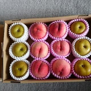 「完売」もぎたて新鮮桃&幸水梨、約3,6~4キロ、(フルーツ)