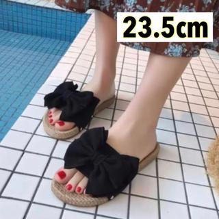 【37/23.5cm】リボン サンダル ブラック 大人気❤